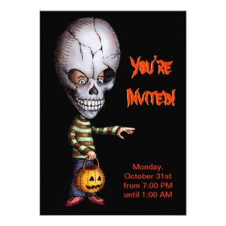 Halloween Party Invitation - Skull Kid