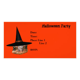 Halloween Party Invitation Toad Face Witch Hat