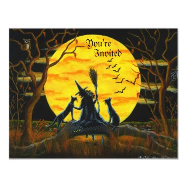 ChristineAltmann Halloween,party,invitation,witch,black,cats Card