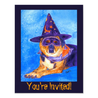 Halloween Party Invitation  - Witch Dog