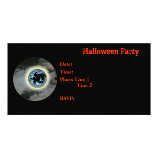 Halloween Party Invitation Witch Full Moon Card