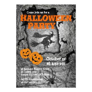 Halloween Party Invitation Witch Spider