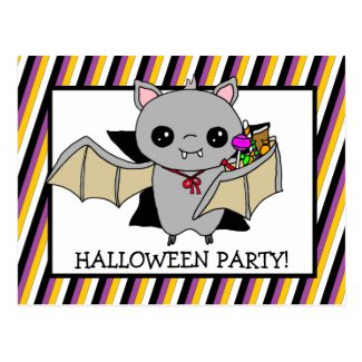 Halloween Party Invitation with Bat Holding Candy Postcard