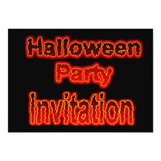 Halloween Party Invitation with fire hot burn melt