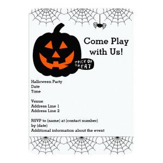 Halloween Party Invitation with pumpkin,spiderwebs