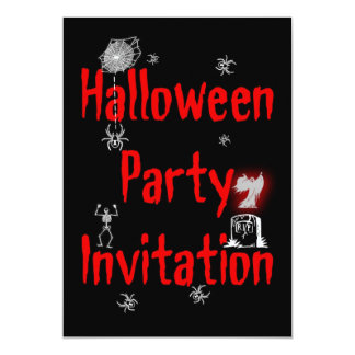 Halloween Party Invitation with spider web tomb