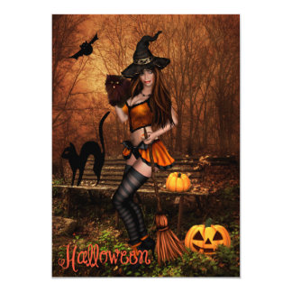 Halloween Party Invitation with Witch