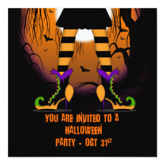 Halloween Party Invitation With Witches Legs