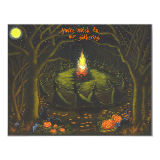 Halloween,party,invitations,bonfire,witches Card