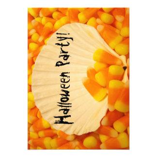 Halloween Party Invitations Candy Corn Orange