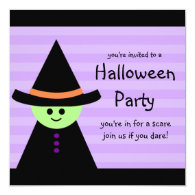 Halloween Party Invitations Cute Toy Witch