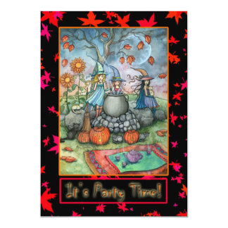 Halloween Party Invitations Cute Witches