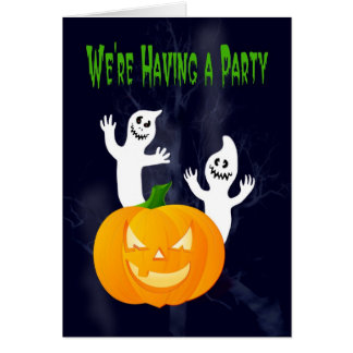 Halloween Party invitations ghosts and pumpkin