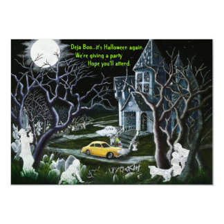 Halloween,party,invitations,ghosts,haunted,house Card