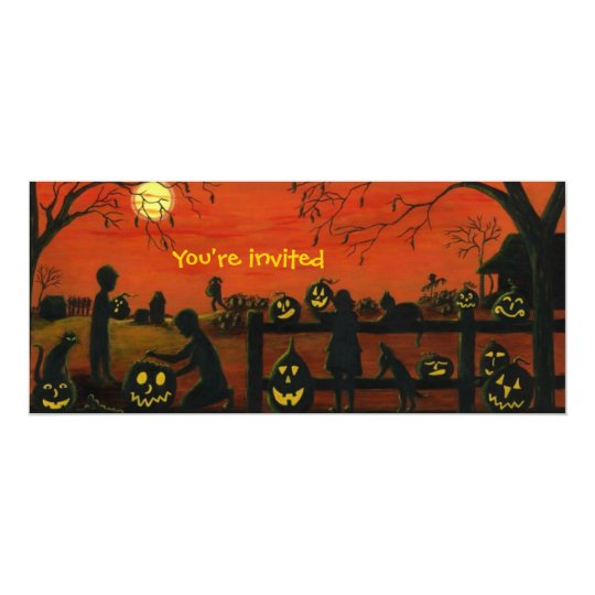Halloween.party,invitations,pumpkin,patch Card
