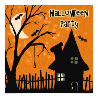 Halloween Party Invitations Spooky Haunted House