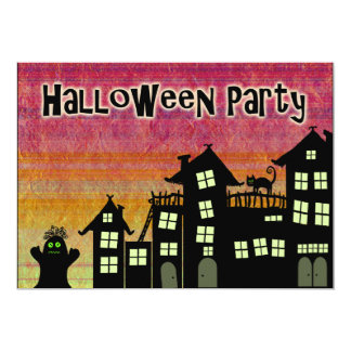 Halloween Party Invitations Spooky Haunted Town