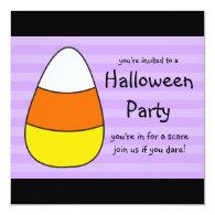 Halloween Party Invitations Square Candy Corn