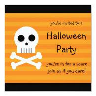 Halloween Party Invitations Square Pirate Skull