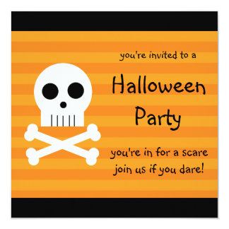 Halloween Party Invitations Square Pirate Skull