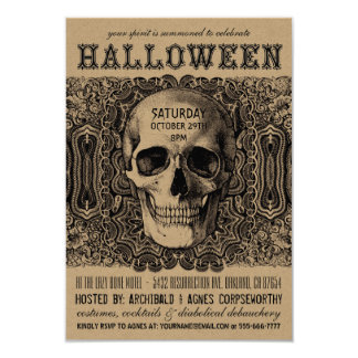 Halloween Party Invitations - Steampunk Kraft