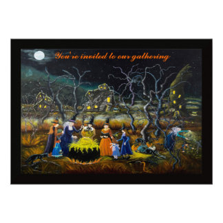 Halloween party invitations witches with cauldron announcements