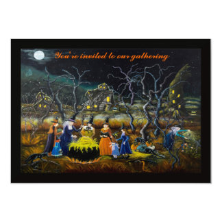 Halloween party invitations, witches with cauldron card