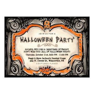 Halloween Party Invite - Black Orange Border