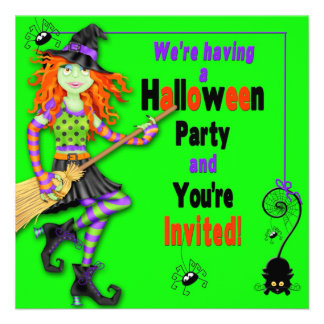 HALLOWEEN PARTY INVITE - KIDS - WITCHES SPIDERS CUSTOM ANNOUNCEMENTS