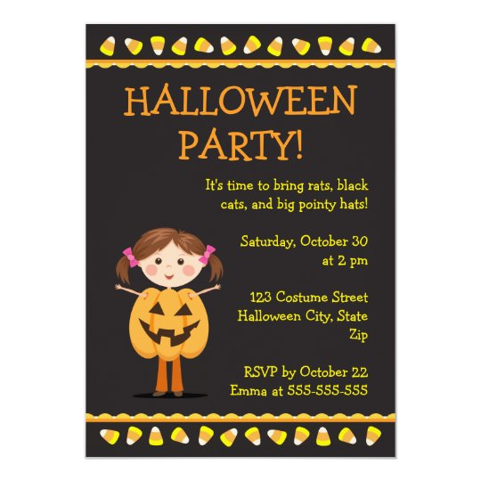 Halloween party invite with Jack o lantern girl
