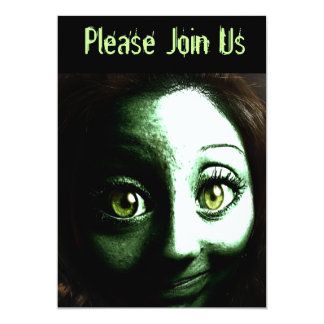 Halloween Party Invite with Teen Zombie Girl