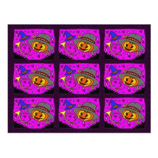 Halloween Party, Jack o' Lantern and Bugle Pattern Postcard