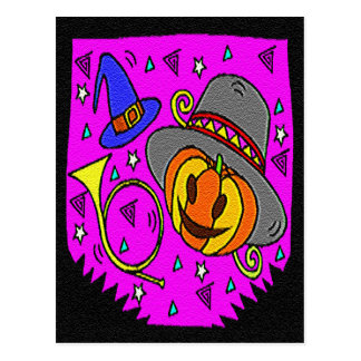 Halloween Party, Jack o' Lantern and Bugle Postcard