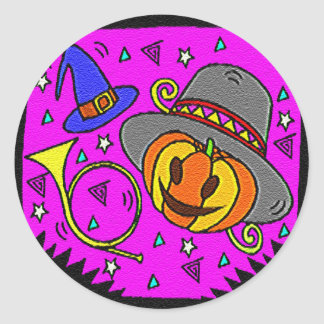 Halloween Party, Jack o' Lantern and Bugle Classic Round Sticker