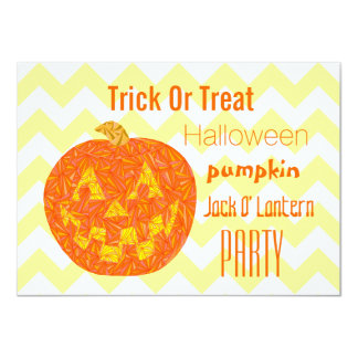 Halloween Party Jack O Lantern Chevron Pattern Card