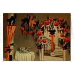 Halloween Party Jack O Lantern Pumpkin Black Cat Greeting Card