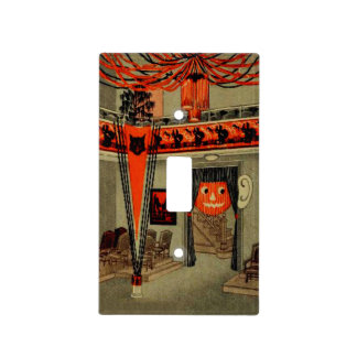 Halloween Party Jack O Lantern Pumpkin Black Cat Light Switch Cover