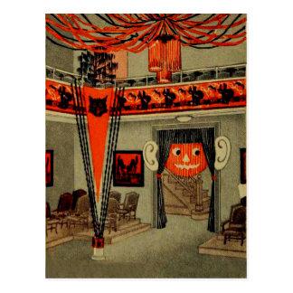 Halloween Party Jack O Lantern Pumpkin Black Cat Postcard