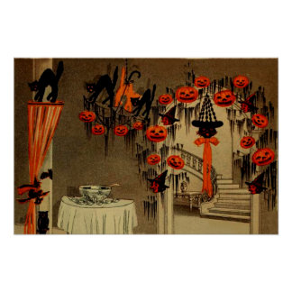 Halloween Party Jack O Lantern Pumpkin Black Cat Poster