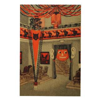 Halloween Party Jack O Lantern Pumpkin Black Cat Wood Print