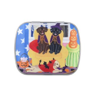 Halloween Party Labradors Candy Tin
