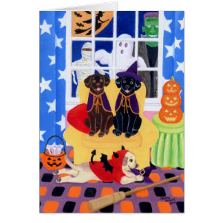 Halloween Party Labradors! Greeting Card