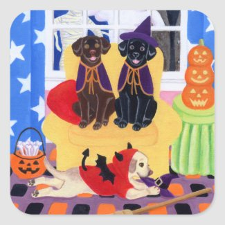 Halloween Party Labradors! Classic Round Sticker