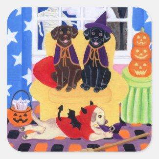 Halloween Party Labradors! Classic Round Sticker