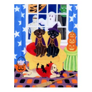 Halloween Party Labradors! Postcard