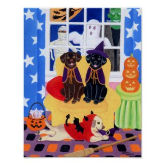 Halloween Party Labradors! Poster