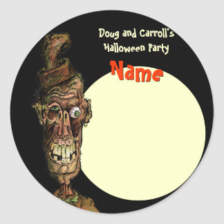 Halloween Party Name Tag - Nutty Hat Zombie Classic Round Sticker