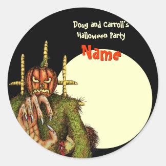 Halloween Party Name Tag - Pumpkin Head Scarecrow Sticker