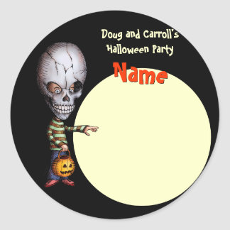 Halloween Party Name Tag - Skull Kid Round Sticker