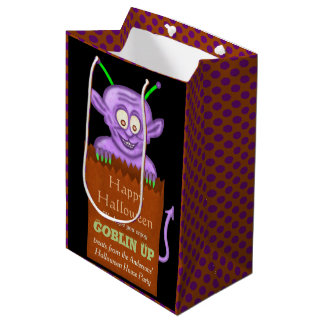 Halloween Party Personalized Funny Goblin Treat Medium Gift Bag